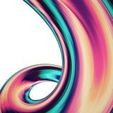 3D geef abstracte achtergrond terug Kleurrijke verdraaide vormen in motie De computer produceerde digitale kunst voor affiche, vl Stock Foto's
