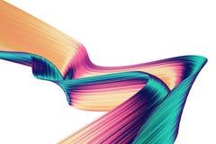 3D geef abstracte achtergrond terug Kleurrijke verdraaide vormen in motie De computer produceerde digitale kunst voor affiche, vl Stock Afbeeldingen