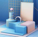 3d geef in abstracte stijl op kleurrijke achtergrond terug In futuristische technologietextuur Minimaal ontwerp royalty-vrije stock afbeelding