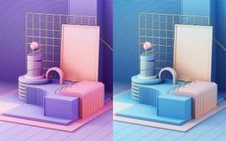 3d geef in abstracte stijl op kleurrijke achtergrond terug In futuristische technologietextuur Minimaal ontwerp royalty-vrije stock afbeeldingen