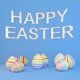 3d geef - acht colorfupaaseieren op blauwe achtergrond - ballons terug - gelukkige Pasen stock illustratie