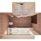3d geef binnenlands ontwerp van een moderne badkamers met een grote mirr terug Stock Fotografie