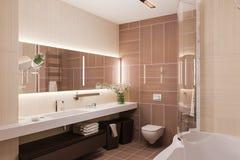 3d geef binnenlands ontwerp van een moderne badkamers met een grote mirr terug Royalty-vrije Stock Afbeeldingen