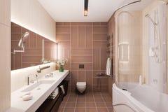 3d geef binnenlands ontwerp van een moderne badkamers met een grote spiegel terug Royalty-vrije Stock Fotografie
