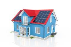 3d geef - blauw huis met zonnepaneel terug vector illustratie