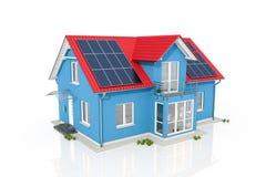 3d geef - blauw huis met zonnepaneel terug royalty-vrije illustratie