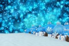 3d geef - blauwe Kerstmissnuisterijen over bokehachtergrond terug Royalty-vrije Stock Foto's