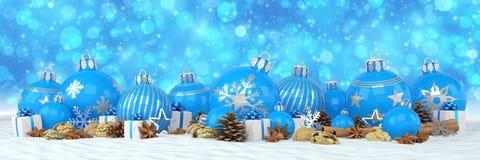 3d geef - blauwe Kerstmissnuisterijen over blauwe bokehachtergrond terug Royalty-vrije Stock Fotografie