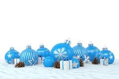 3d geef - blauwe Kerstmissnuisterijen over witte achtergrond terug Stock Fotografie