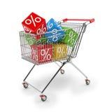 3d geef - boodschappenwagentje met kleurrijke kubussen van percenten terug Stock Afbeeldingen