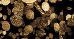 3D geef Dalende gouden muntstukken terug bitcoin Stock Foto's