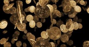 3D geef Dalende gouden muntstukken terug bitcoin Royalty-vrije Stock Foto