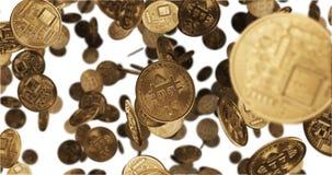 3D geef Dalende gouden muntstukken terug bitcoin Stock Afbeelding