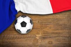 3d geef - de vlag van Frankrijk, voetbal - hout terug Royalty-vrije Stock Foto