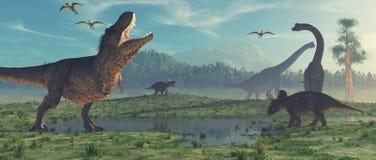 3d geef dinosaurus terug stock illustratie