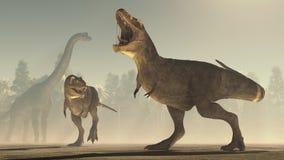3d geef dinosaurus terug royalty-vrije illustratie