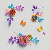 3d geef, document bloemenillustratie, decoratieve elementen, bloemenachtergrond, botanisch patroon, heldere suikergoedkleuren, tr royalty-vrije stock foto's