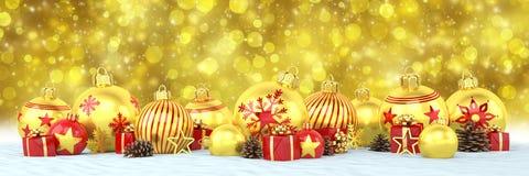 3d geef - gouden en rode Kerstmissnuisterijen over bokehbackgrou terug Stock Afbeeldingen