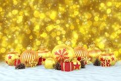 3d geef - gouden Kerstmissnuisterijen over bokehachtergrond terug Royalty-vrije Stock Foto's