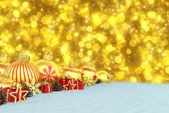 3d geef - gouden Kerstmissnuisterijen over bokehachtergrond terug Stock Fotografie