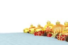 3d geef - gouden Kerstmissnuisterijen over witte achtergrond terug Stock Fotografie