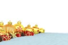 3d geef - gouden Kerstmissnuisterijen over witte achtergrond terug Stock Afbeelding
