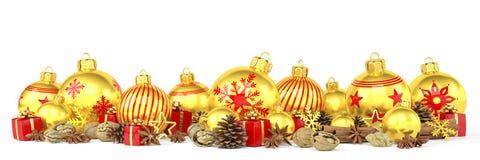 3d geef - gouden Kerstmissnuisterijen over witte achtergrond terug Royalty-vrije Stock Foto's