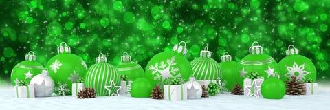 3d geef - groene en zilveren Kerstmissnuisterijen over bokeh backgr terug Royalty-vrije Stock Afbeeldingen
