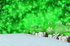 3d geef - groene Kerstmissnuisterijen over bokehachtergrond terug Stock Foto's