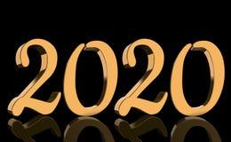 3D geef - het jaar 2020 weerspiegeld in gouden aantallen op zwarte achtergrond terug stock illustratie