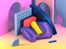 3d geef illustratie terug Abstracte samenstelling met geometrische shap Stock Afbeeldingen