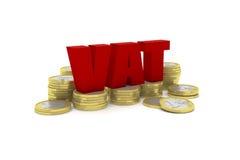 3D geef illustratie van verscheidene één euro muntstukstapels met terug de woordbtw royalty-vrije stock fotografie