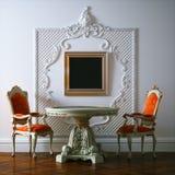3d geef klassiek binnenland met uitstekend meubilair terug stock illustratie