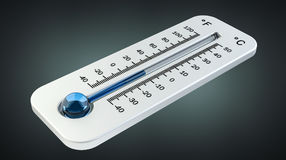 3D geef koude witte thermometer terug die op lage temperatuur wijzen Royalty-vrije Stock Fotografie