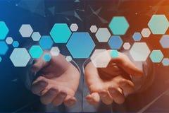 3d geef lege toepassing terug die van blauwe getoonde hexaknoop wordt gemaakt Stock Fotografie