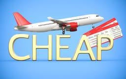 3d geef luchtvaartlijn, luchtkaartjes met vliegtuig terug, zijn het lijnvliegtuig en de gouden tekst goedkoop, op de blauwe achte stock illustratie