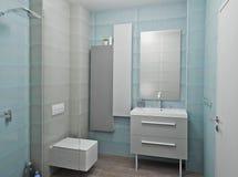 3D geef modern binnenland van badkamers terug Royalty-vrije Stock Foto's