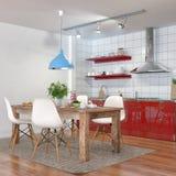3d geef - modern keukenbinnenland met het dineren gebied terug Stock Afbeeldingen