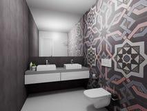 3d geef moderne badkamers terug Royalty-vrije Stock Foto's