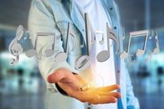 3d geef muzieknota's over een futuristische interface terug Stock Afbeeldingen