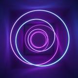 3d geef, neonlicht, tunnel terug, toont de laser, verlichting, gloeiende golvende lijnen, abstracte fluorescente achtergrond, opt royalty-vrije illustratie