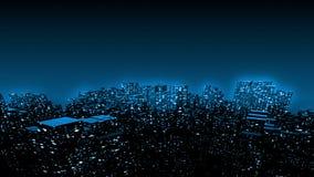 3D geef omhoog van de vorm van kubusdozen een vorm van grote digitale cityscape gebouwen met lichten terug bij nacht op de zachte stock illustratie