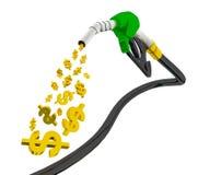3d geef op witte achtergrond, Benzine terug die die van pomp uitstorten op witte achtergrond, de pijp van de brandstofpomp met il royalty-vrije illustratie