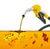 3d geef op witte achtergrond, pijp pompende benzine in een tank, de gietende benzine van de brandstofpijp over witte achtergrond, vector illustratie