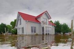 3d geef - overstromend blauw huis terug royalty-vrije illustratie
