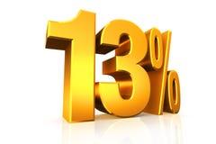 3D geef 13 percententekst in goud terug stock illustratie