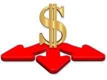 3D geef pijlen achter de voorraadbeeld van het dollarteken terug royalty-vrije illustratie
