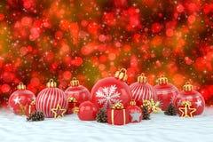 3d geef - rode Kerstmissnuisterijen over bokehachtergrond terug Stock Fotografie