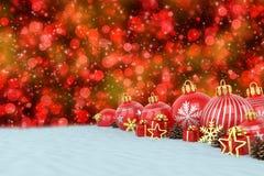 3d geef - rode Kerstmissnuisterijen over bokehachtergrond terug Royalty-vrije Stock Afbeeldingen
