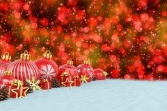 3d geef - rode Kerstmissnuisterijen over bokehachtergrond terug Royalty-vrije Stock Foto